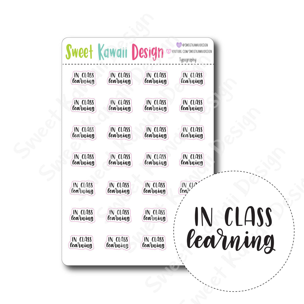 Kawaii Typography Stickers - In Class Learning