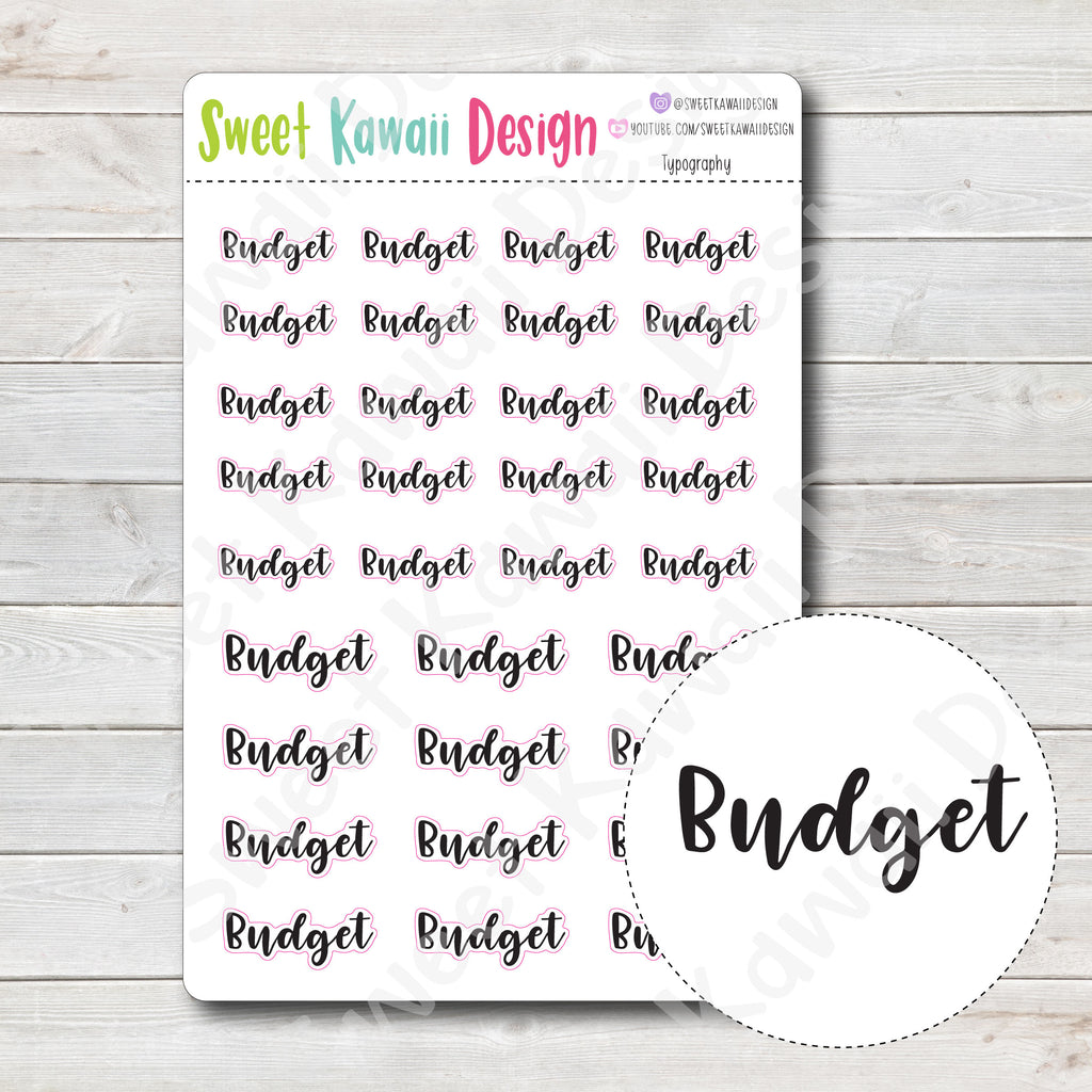 Typography Stickers - Budget