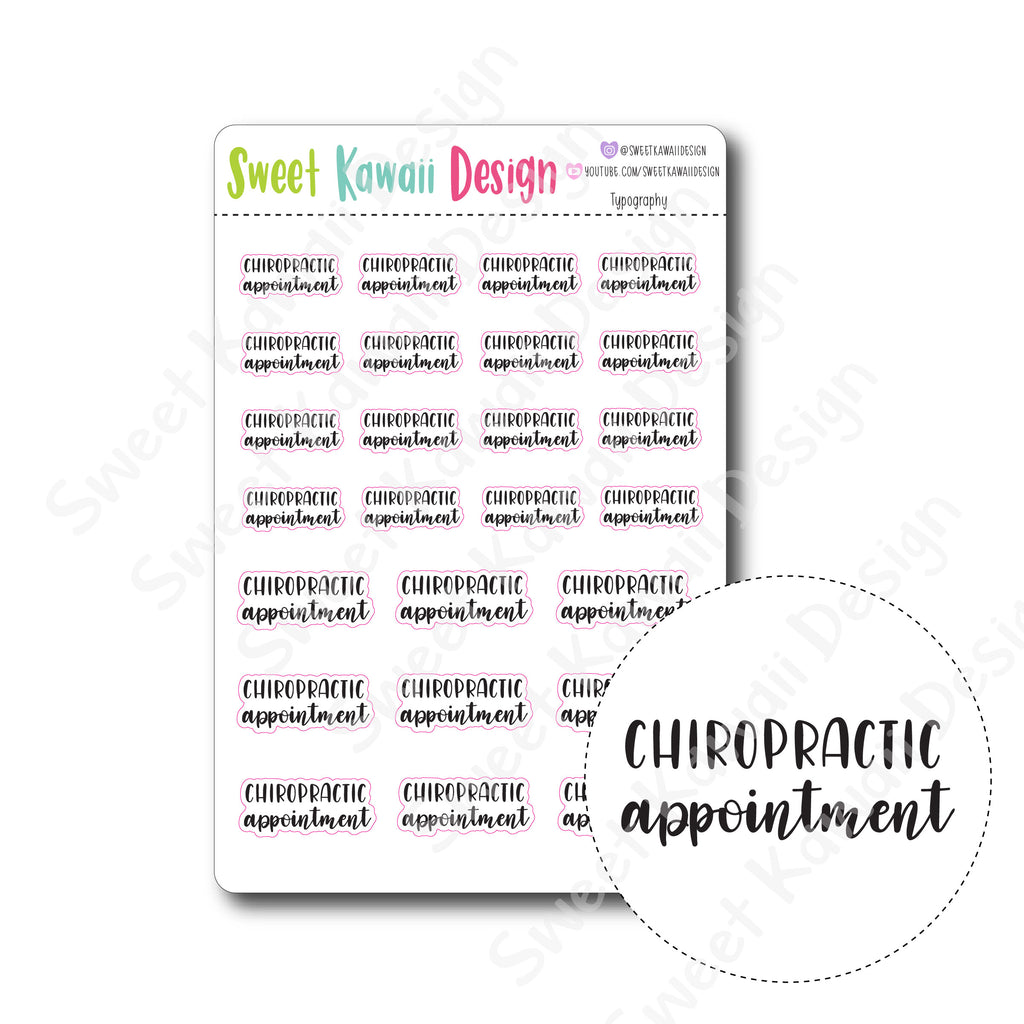 Typography Stickers - Chiropractic Appointment