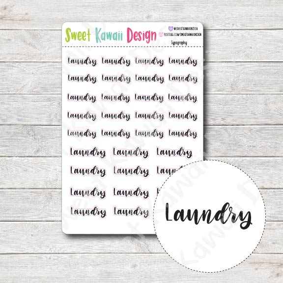 Typography Stickers - Laundry