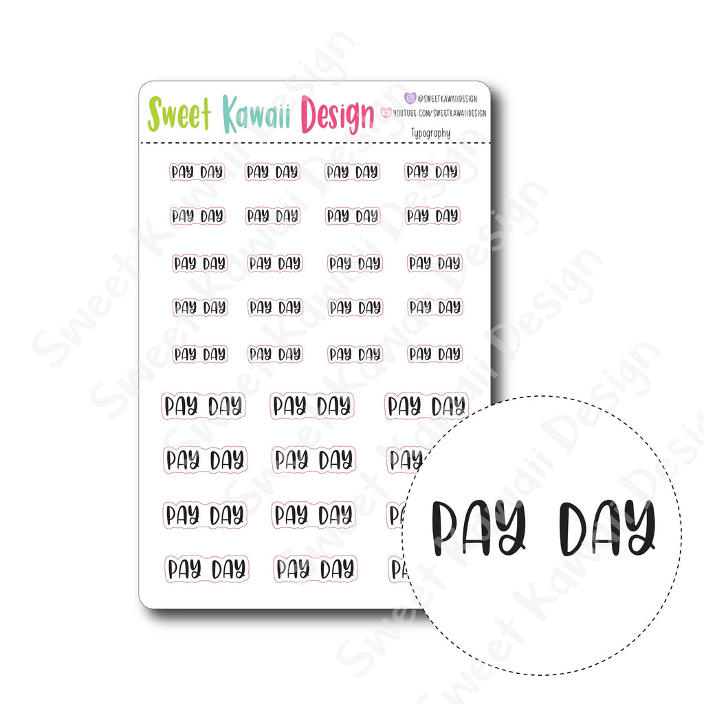 Typography Stickers - Pay Day