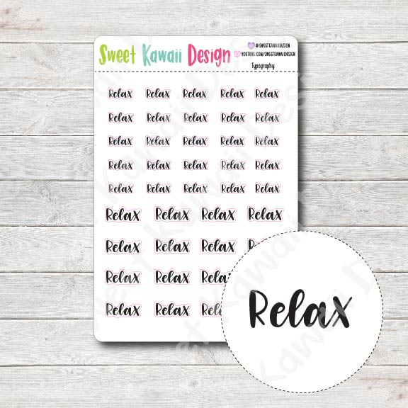 Typography Stickers - Relax