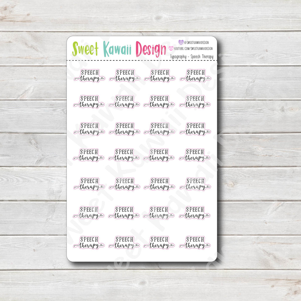 Typography Stickers - Speech Therapy