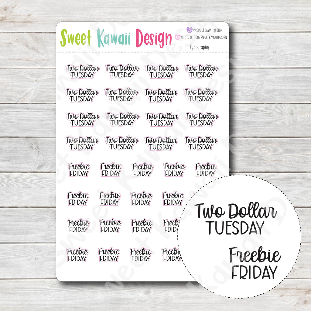 Typography Stickers - $2 Tues/ Freebie Friday