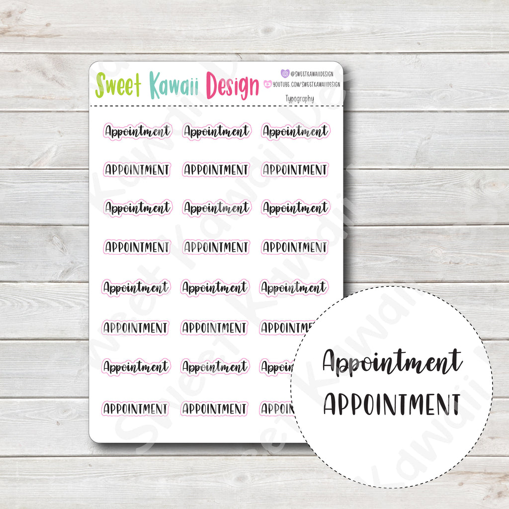 Typography Stickers - Appointment