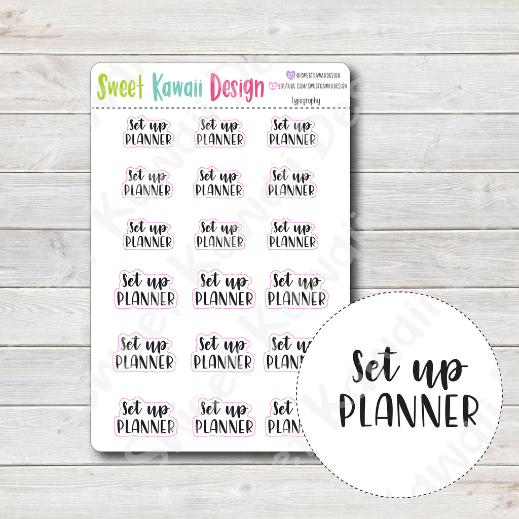Typography Stickers - Set Up Planner