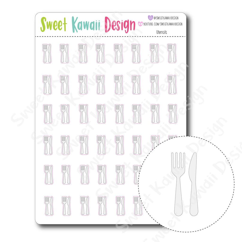 Kawaii Utensil Stickers