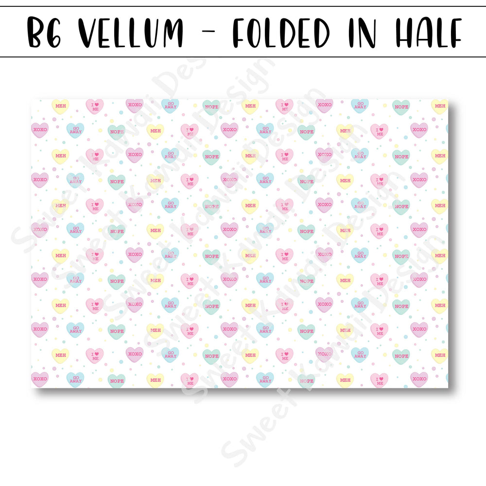 Candy Hearts Vellum - B6 - Folded in Half