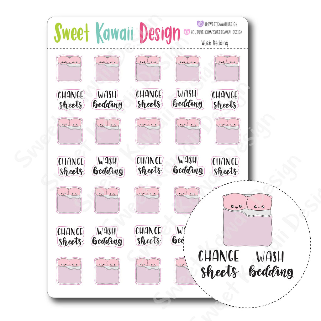 Kawaii Wash Bedding Stickers