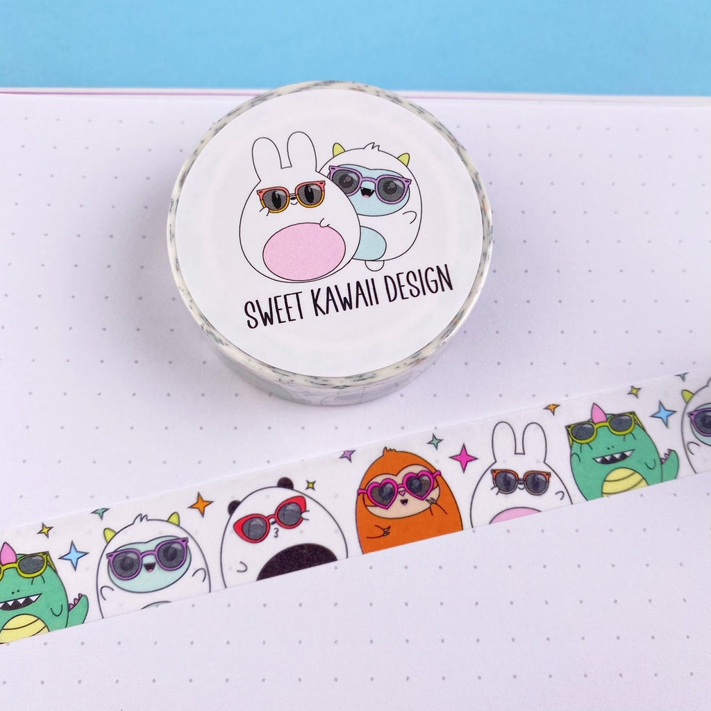 Kawaii Critters with Sunglasses Washi Tape 15mm x 10m