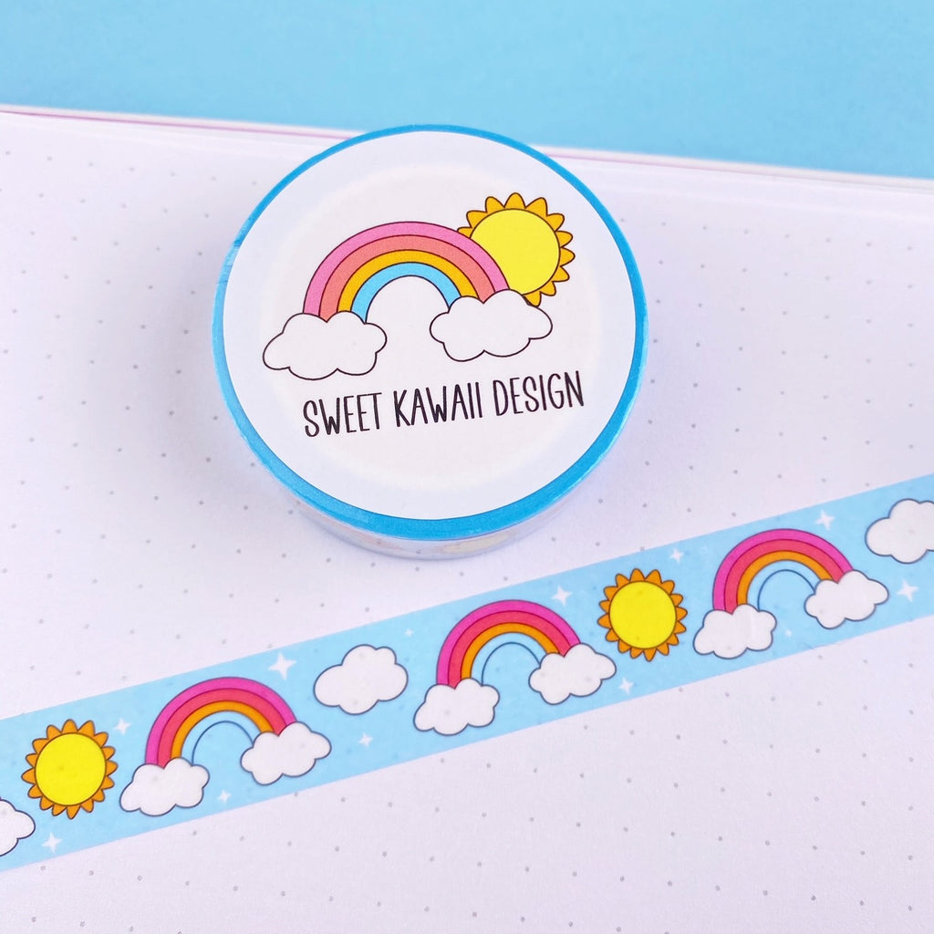 Kawaii Sunshine and Rainbow Washi Tape 15mm x 10m