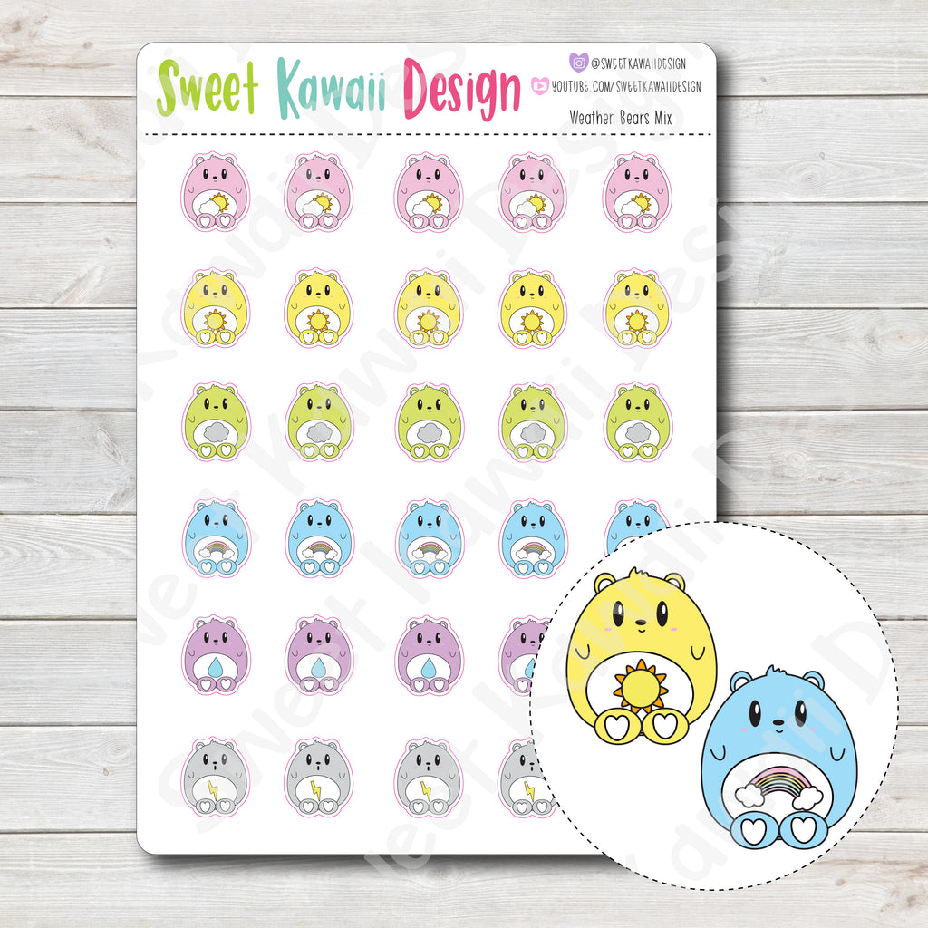Kawaii Weather Bear Stickers - Choose your sheet!