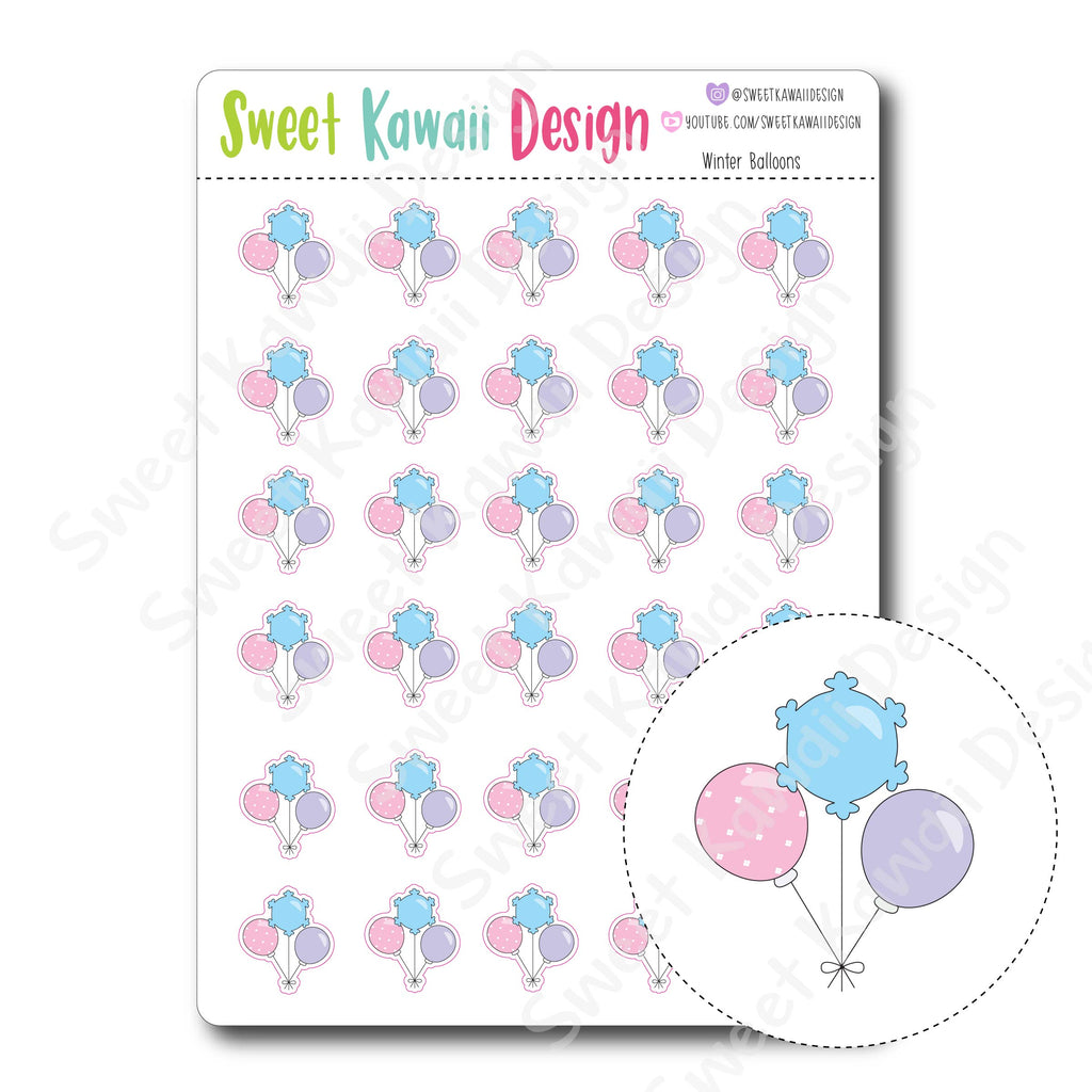 Kawaii Winter Balloon Stickers