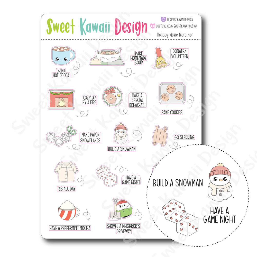Kawaii Winter Bucket List Stickers