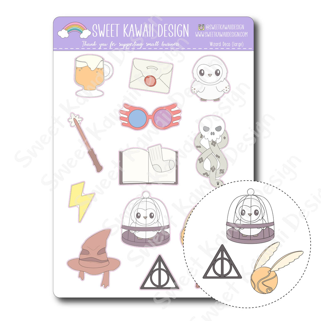 Kawaii Wizard Deco (Large) Stickers