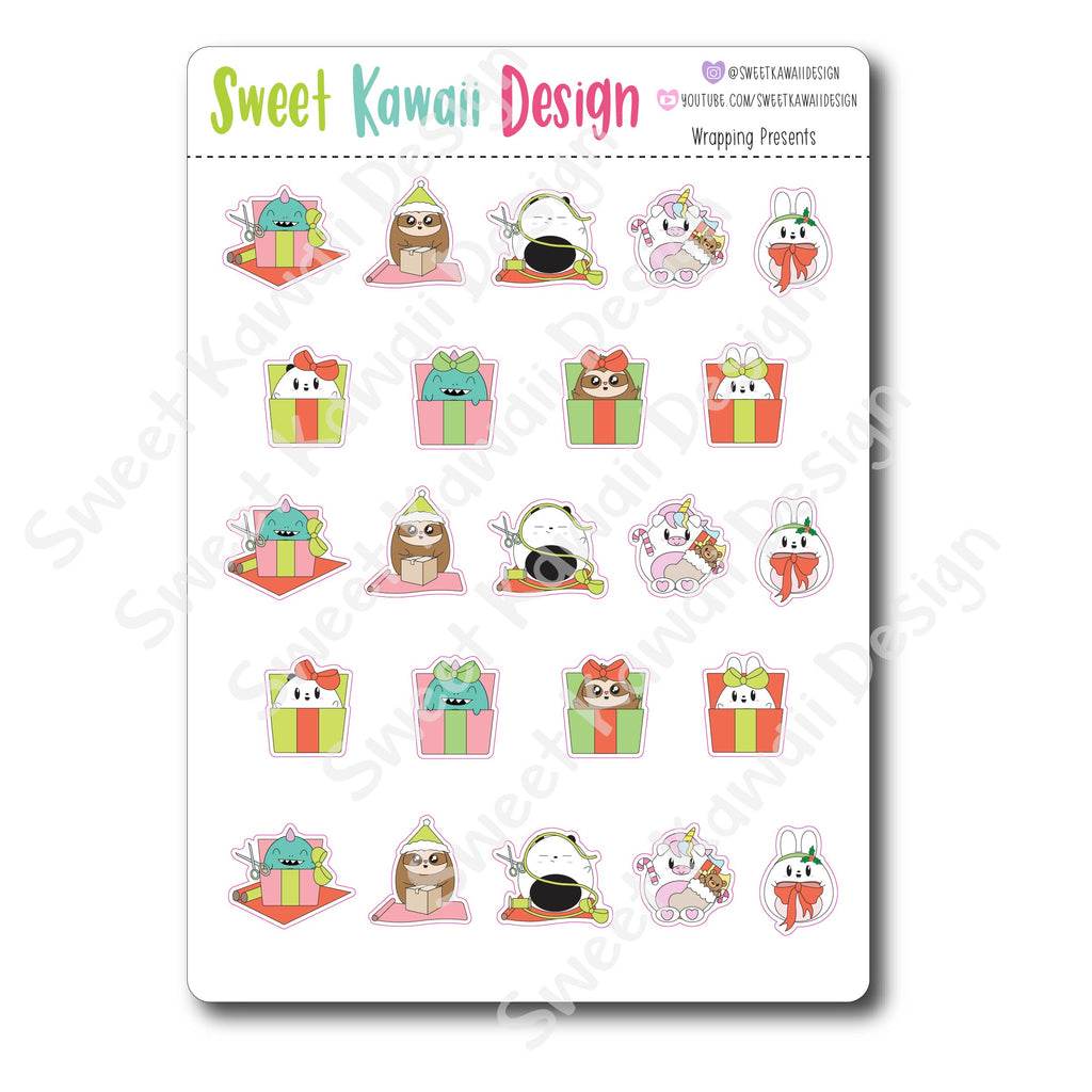 Kawaii Wrapping Presents Stickers
