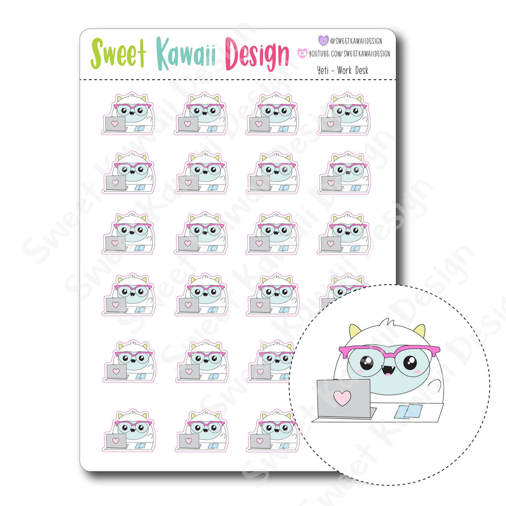 Kawaii Yeti  Stickers - Work Desk