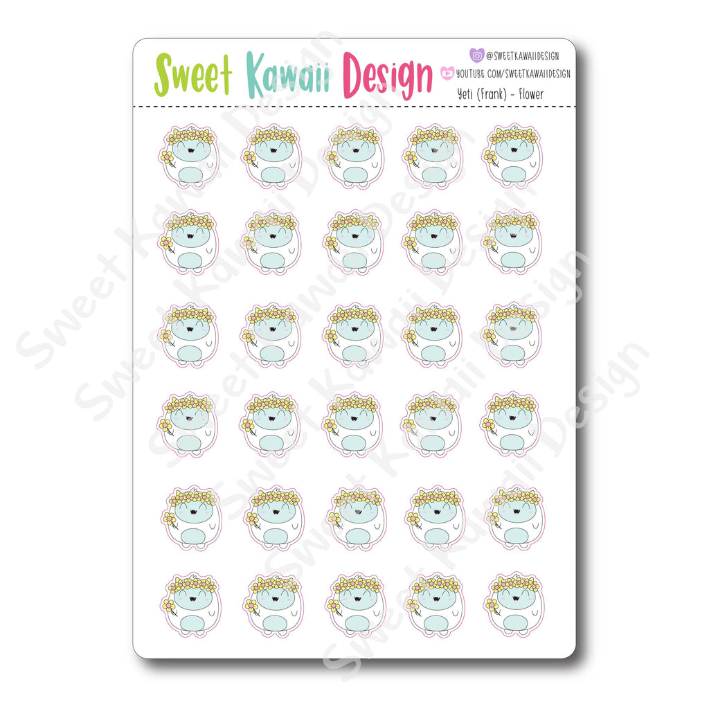 Kawaii Yeti (Frank) Stickers - Flowers