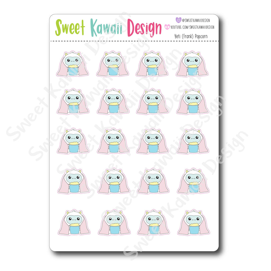 Kawaii Yeti  Stickers - Popcorn