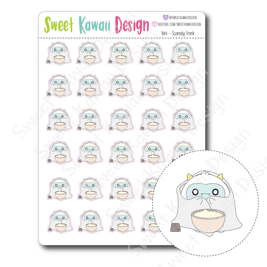 Kawaii Yeti Stickers - Scaredy Frank