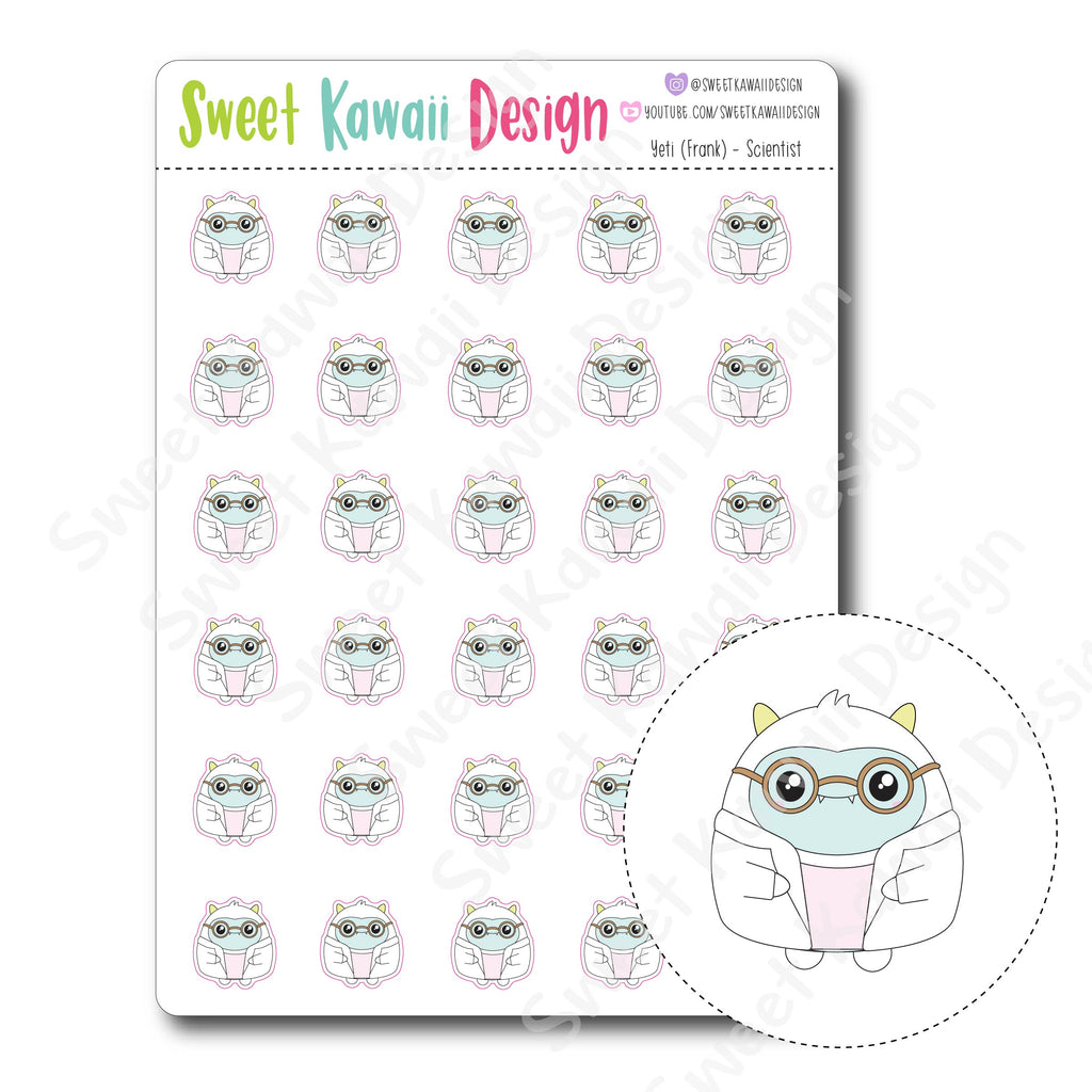 Kawaii Yeti Stickers - Scientist