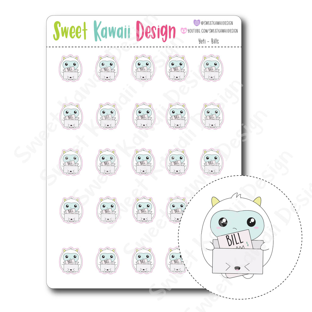 Kawaii Yeti Stickers - Bills