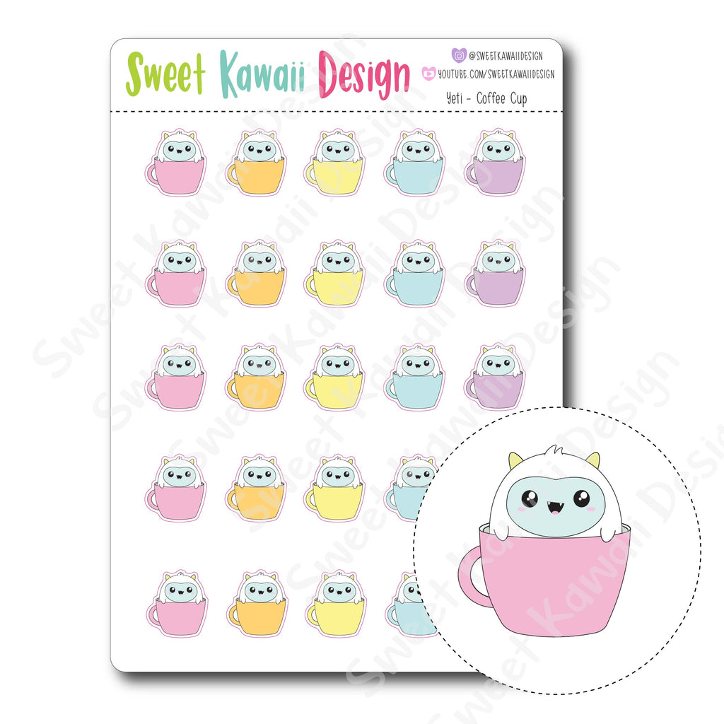 Kawaii Yeti Stickers - Coffee Cup