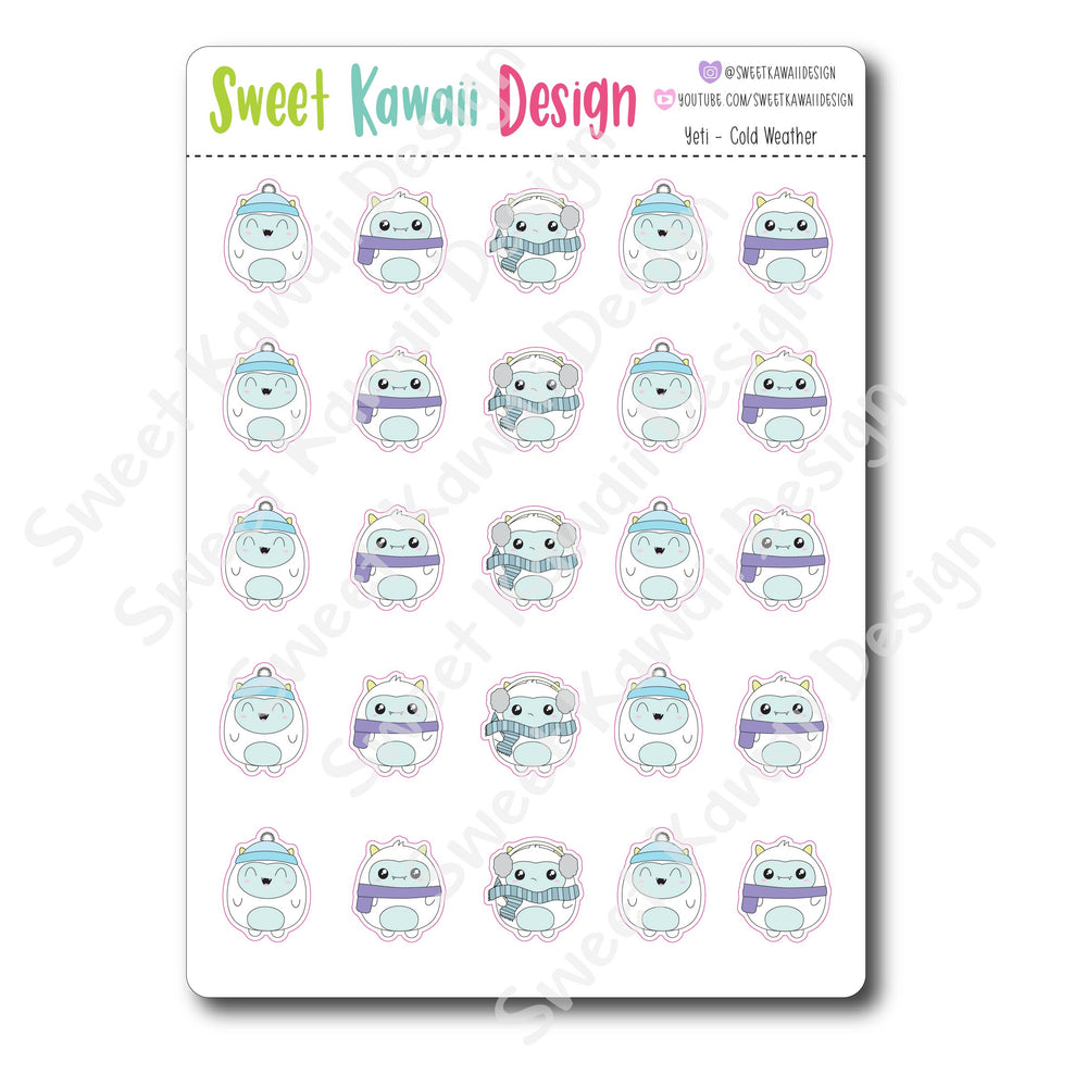 Kawaii Yeti Stickers - Cold Weather
