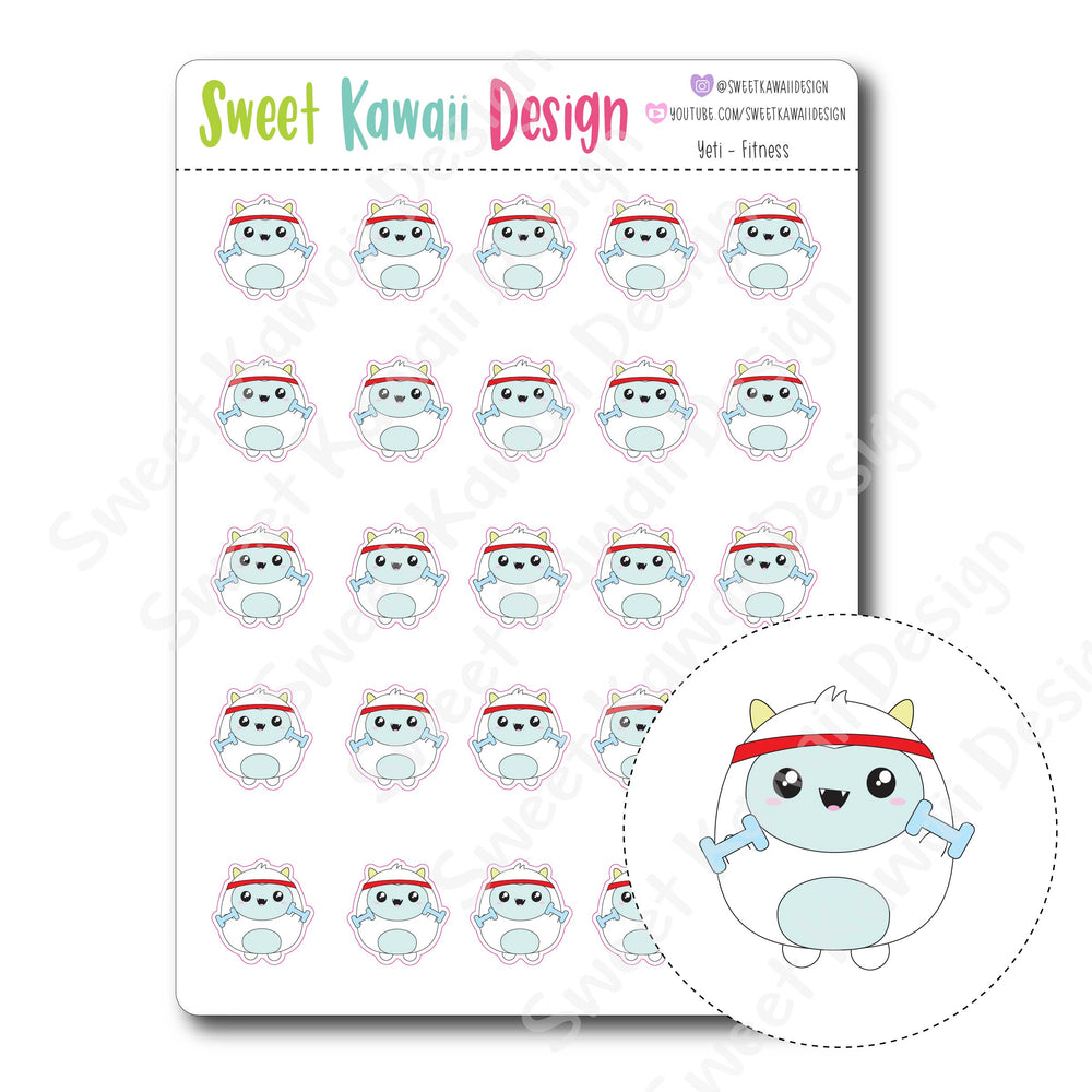 Kawaii Yeti Stickers - Fitness