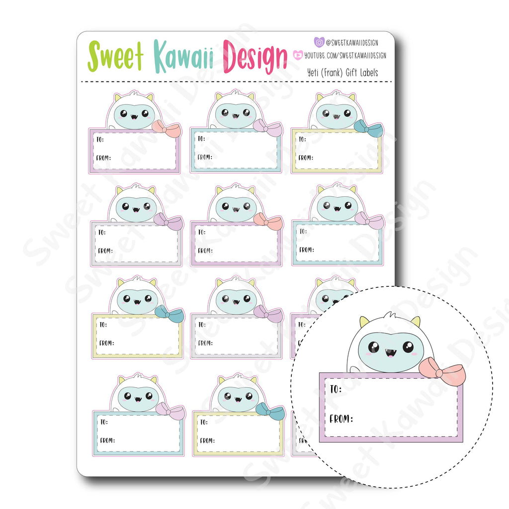 Kawaii Yeti Gift Labels