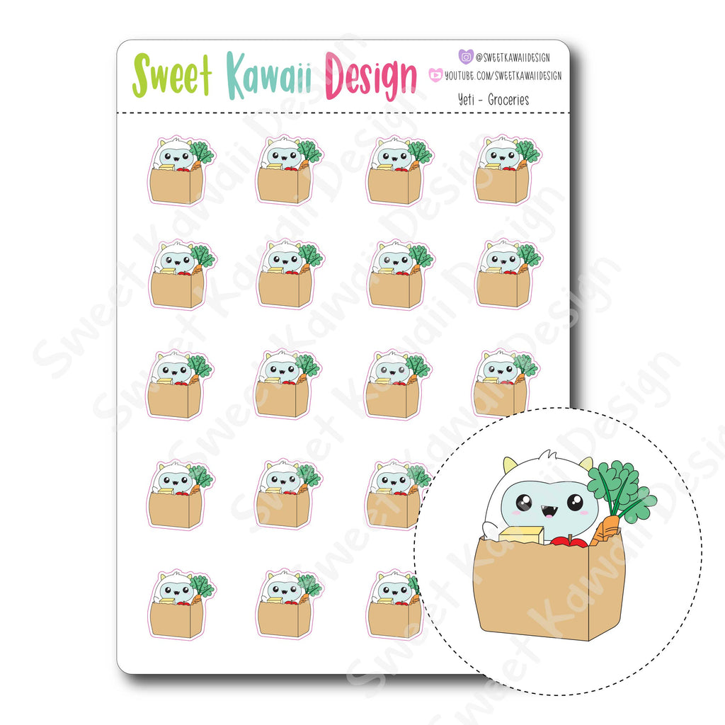 Kawaii Yeti  Stickers - Groceries