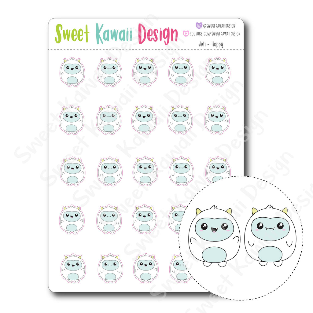 Kawaii Yeti  Stickers - Happy