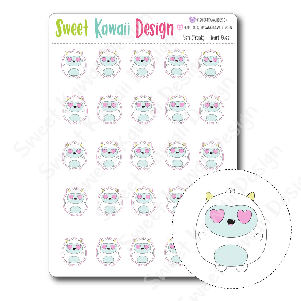 Kawaii Yeti Stickers - Heart Eyes