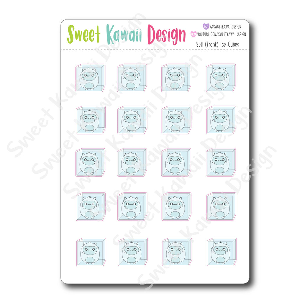 Kawaii Yeti Ice Cube Stickers