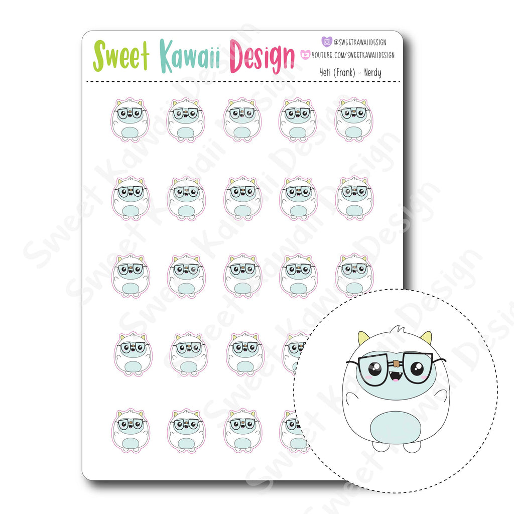 Kawaii Yeti Stickers - Nerdy