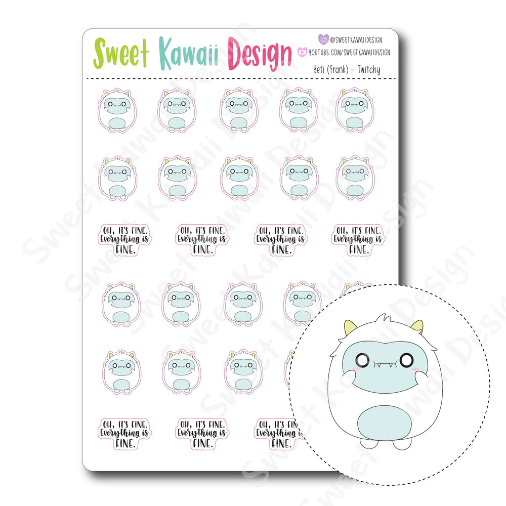 Kawaii Yeti (Frank) Stickers - Twitchy