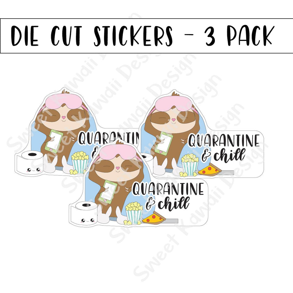 Kawaii Quarantine and Chill Diecut Sticker Set