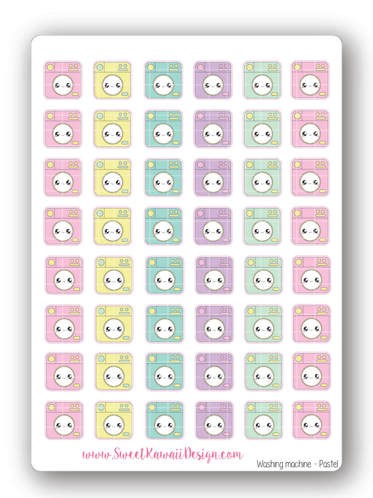 Kawaii Washing Machine Stickers - Pastel