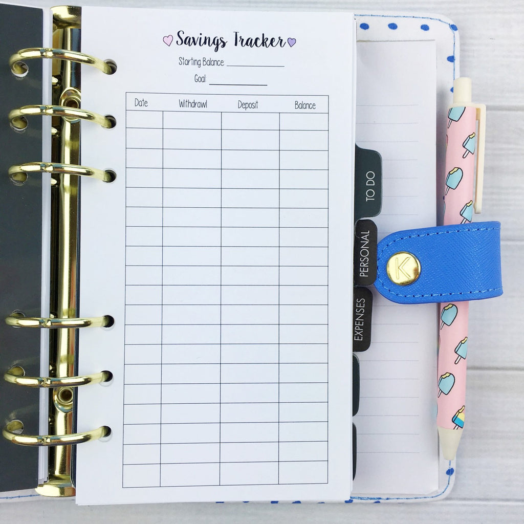 PERSONAL SIZE Planner Insert - Savings Tracker