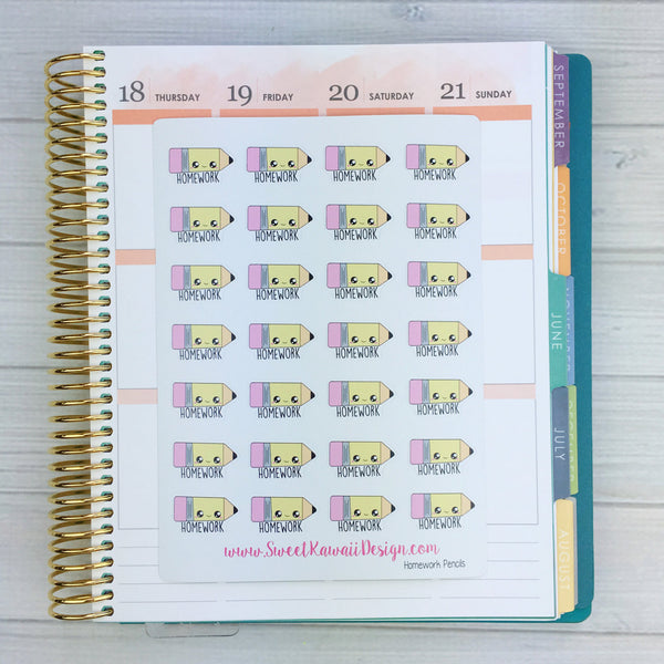 Kawaii Homework Pencil Stickers