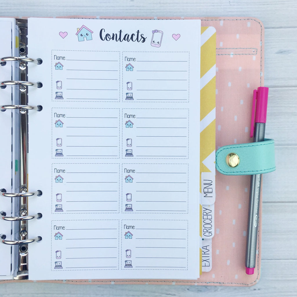 A5 Kawaii Planner Insert - Contacts