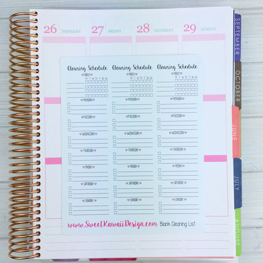 Kawaii Blank Cleaning List Stickers