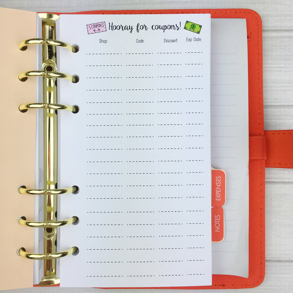 PERSONAL SIZE Planner Insert - Coupon Code Tracker