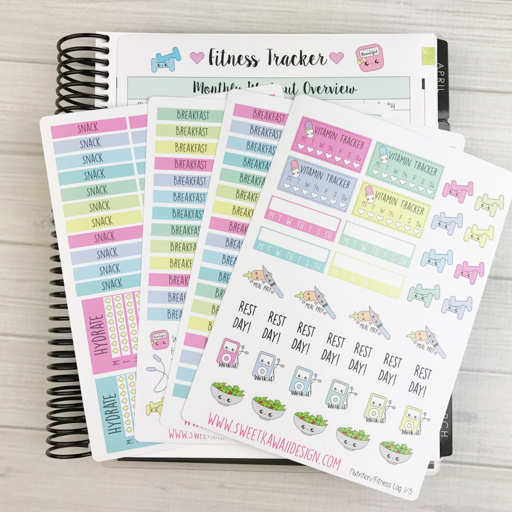 Kawaii Nutrition/Fitness Log Sticker Bundle NEW