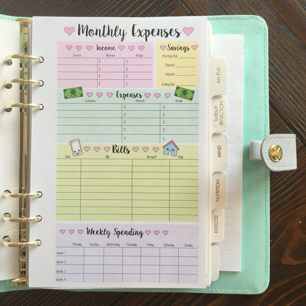 A5 Kawaii Planner Insert - (Pastel/Full Color) Monthly Expenses