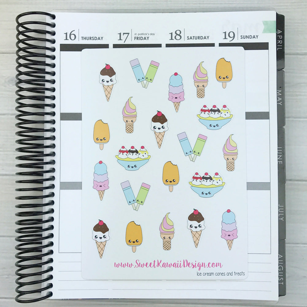 Kawaii Ice Cream Stickers