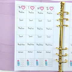 A5 Kawaii Planner Insert - Daily Fitness/Meal Planning