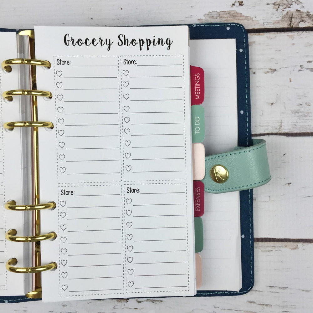 PERSONAL SIZE Planner Insert - Grocery List