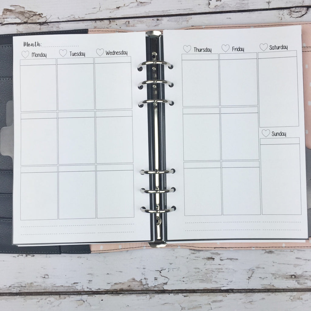 A5 Kawaii Planner Insert - Blank Weekly Layout