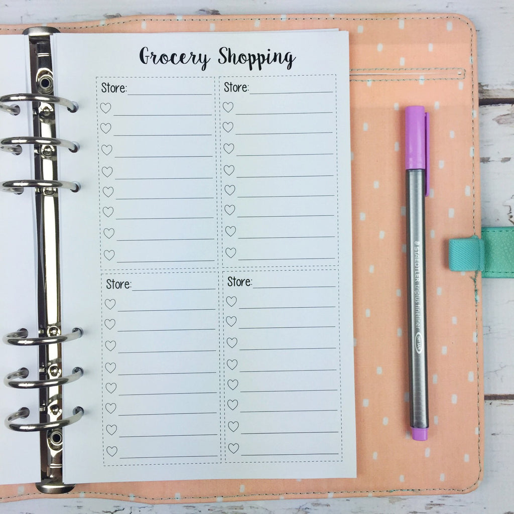 A5 Kawaii Planner Insert - Grocery List